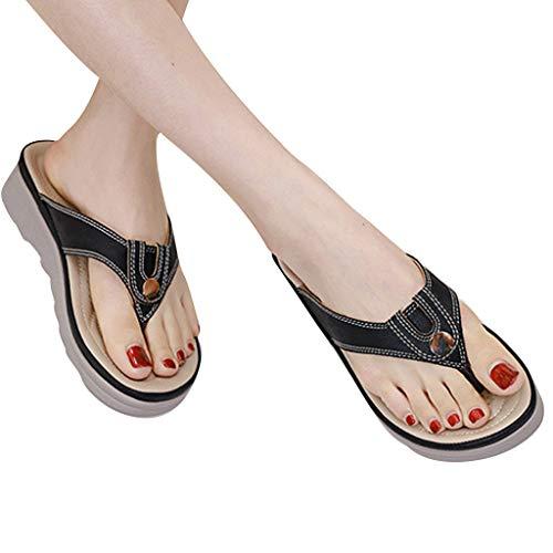 haoricu Plantar Fasciitis Feet Sandal with Arch Support - Best Orthotic flip - Women Slipper Black