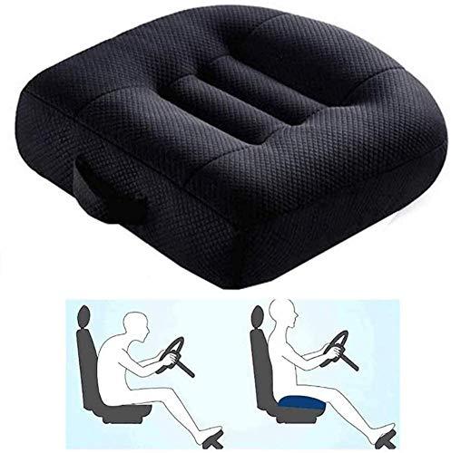 Adult Car Booster Cushion, Auto Passenger Seat Booster, cuscino per seggiolino auto traspirante portatile per auto, ufficio, casa, altezza boost 12 cm   9 cm (Color : Black)
