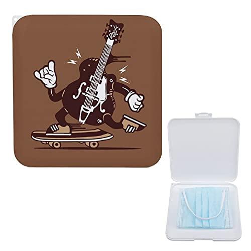 Yumansis Estuche Para Mascarillas, Portátil Caja De Almacenamiento De Máscara A Prueba De Polvo Y Humedad Guitarra Scooter Marrón 13cmx13cm