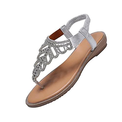 Sandalias planas con brida en el tobillo, para mujer, con diseño bohemio, plata, 35 EU