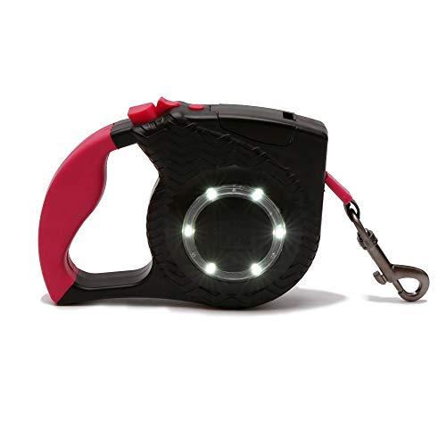 Automatische intrekbare hondenriem, Hond Automatic Retractable trekkabel LED-verlichting Reflective grote en middelgrote Pet Supplies Geschikt voor buiten (Color : Black, Size : 4m)