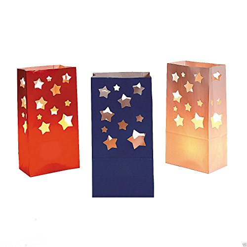 12 4th of July PATRIOTIC Party Decoration Pathway STAR LUMINARY BAGS
