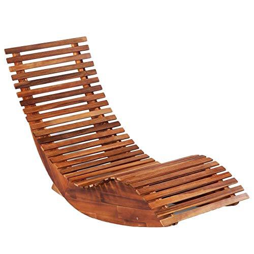 EBTOOLS- Schaukelstuhl Akazienholz Gartenstuhl Holzschaukelstuhl Relaxliege Liegestuhl Sonnenliege Saunaliege Gartenmöbel, 149 x 60 x 86 cm