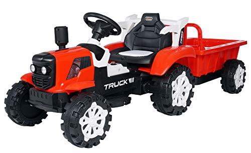 Actionbikes Motors Kinder Elektro Traktor mit Anhänger - 2,4 Ghz Fernbedienung – LED Scheinwerfer - Elektro Traktor für Kinder ab 3 Jahre (Rot)