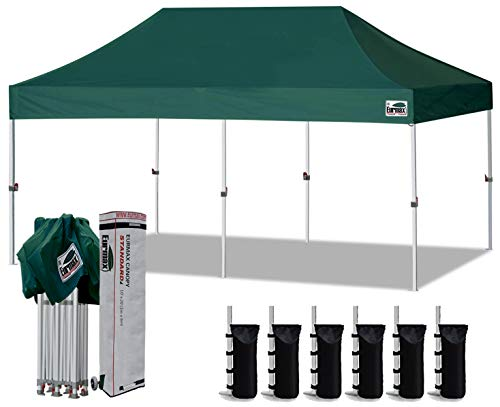 Eurmax 10'x20' Ez Pop Up Canopy Tent Commercial Instant Canopies with Heavy Duty Roller Bag,Bonus 6 Sand Weights Bags (Forest Green)