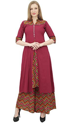 Phagun Phagun Frauen indische Kleidung Maroon A-Line Kurti Kurta Kleid mit Palazzo-56