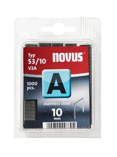 Novus A 53 Feindrahtklammern 10 mm, aus Edelstahl, 1000 Tacker-Klammern vom Typ 53/10, für dauerhaften Außeneinsatz