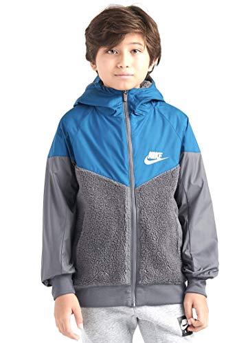 Nike Boys Sherpa Windrunner Jacket Hoodie, Blue Gray, Size XL