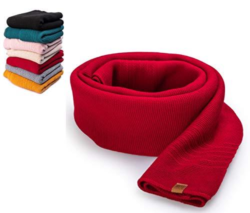 HEYO Damen Schal Winter Strickschal | H19603 | Weich Warm Gestrickt mit Leder Patch | Made IN EU (Rot)