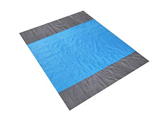 AthenaShoppe Sandfree Beach Blanket - Huge Ground Cover 9' x 10' for 7 Adults - Best Sand Proof Picnic Mat for Travel, Camping, Hiking and Music Festivals - Durable Tarp with Corner Pockets
