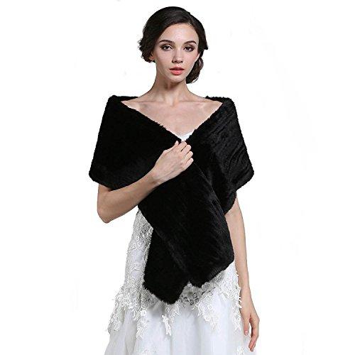 Aukmla Faux Fur Shawl Wedding Fur Wraps and Shawls Bridal Fur Stole...