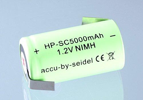 Hochstrom- und Schnellladefähige SUBC / SUB C Flattop Akku-Zelle mit Z - Lötfahnen - 1,2V - 5000mAh - Ni-MH gebräuchlich für Geräte mit hohem Energiebedarf wie z.B. Werkzeugakku oder Modellbau-Sport.