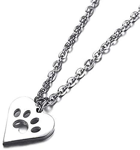 ZQMC Collar de Acero Inoxidable con Forma de Pata de Perro y corazón para Mujer, Animal, Mascota, Cachorro, Gargantilla con Forma de Pata de Palma