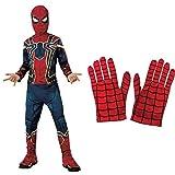 Rubies Disfraz Avengers Official Iron Spider, Spiderman Classic, Talla M, 5-7 anos, altura 132 cm (700659_M) + Spiderman - Guantes para disfraz de niño, talla Única ( 35631)