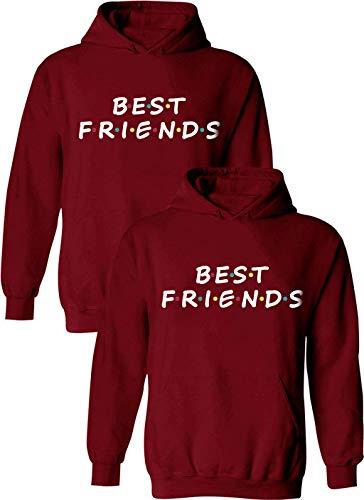 Beste Freunde Pullover für Zwei Mädchen Best Friends Hoodie BFF Pullover Sister Kapuzenpullover Damen Pulli Geburtstagsgeschenk 1 Stück-Rot-Best-Friends-XXXL