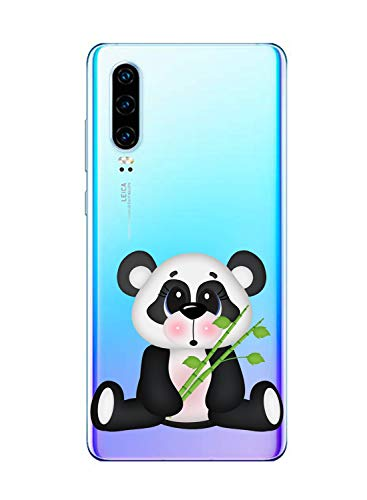 Suhctup Funda Compatible para Samsung Galaxy J2 Pro 2018,Carcasa Transparente Dibujos Animal Suave Silicona TPU Gel Bumper Ultra Pulgada Antigolpes Crystal Clear Protector Piel Case Cover,Panda 1