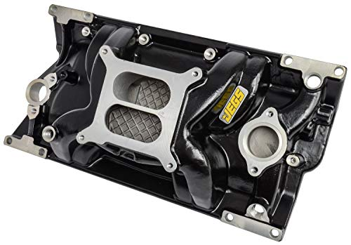 JEGS Small Block Chevy 1996-2002 Intake Manifold | For Use With Vortec Cast Iron Cylinder Heads | Non-EGR | Idle - 5500 RPM Power Range | Black Cast Aluminum | Square Bore Mounting Pad