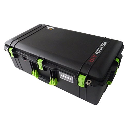Black w/ Lime Green handles & latches Pelican 1615 case. With Foam. With Wheels.