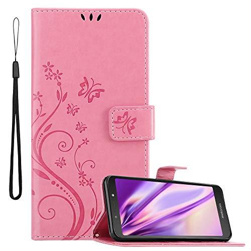 Cadorabo Funda Libro para Motorola Moto E5 en Rosa Floral – Cubierta Proteccíon en Diseño de Flor con Cierre Magnético, Función de Suporte e 3 Tarjeteros - Etui Case Cover Carcasa