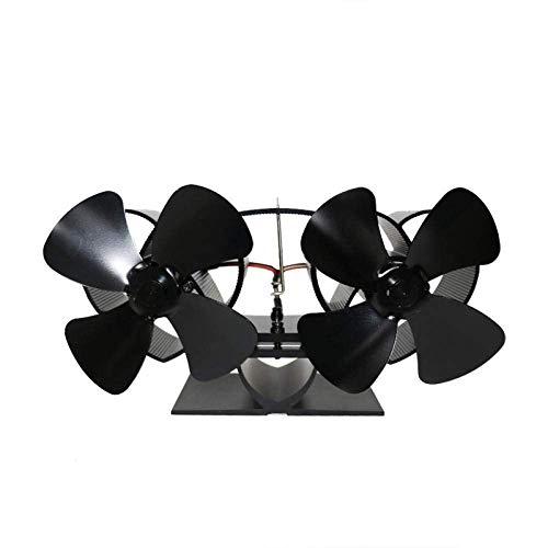 WYJW Ventilador de Estufa con energía térmica de 8 aspas Mejorado Ventilador de Chimenea silencioso de Doble Cabezal para Estufa de Gas/pellets/leña/leña (Color: Motor Doble)