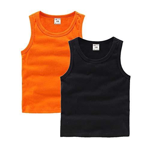 DQCUTE Kleinkind Baby Jungen Mädchen Solide Tank Tops T-Shirts Unterhemden Baumwolle Sommer Sleeveless Weste Orange Schwarz 18-24 Monate
