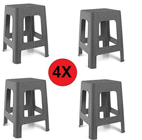RATAN 4X Taburete Silla de plástico Estilo Rattan Gris Asiento Cuadrado cómodo jardín Banco