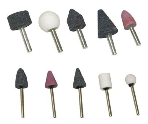 AERZETIX: Juego de 10 Piedras Abrasivas Cilíndrico/Esférico para Taladro/Destornillador para Metal/Cristal/Cerámica/Plástico C1112