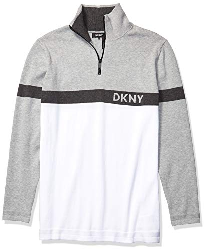DKNY Herren Men's Colorblock Long Sleeve Logo Cotton 1/4 Zip Sweater Pullover, Standardweiß, Klein