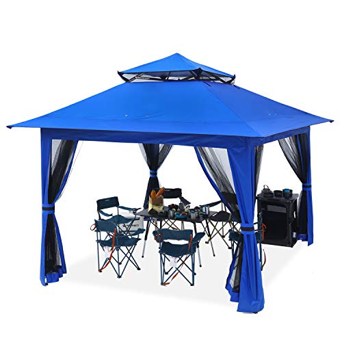 ABCCANOPY 13'x13' Canopy with Mosquito Netting Outdoor Gazebo 169 sq.ft Pop up Camping Shelter, Blue