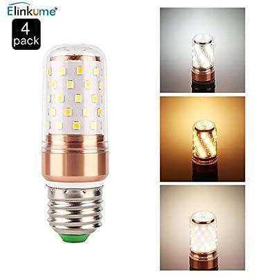 ELINKUME 3-Mode Color Change LED Candelabra Bulb,Cool White/Warm White/Daylight White 3 Color in 1 Corn Light Bulb,60W Incandescent Equivalent,E27/26 Base,Pack of 4