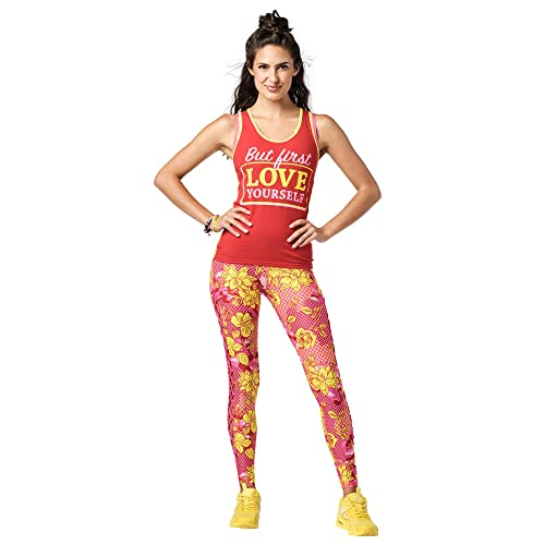 Zumba Fitness Soft Graphic Print Dance Workout Active Racerback Tops para mujer, Rubí, Medium