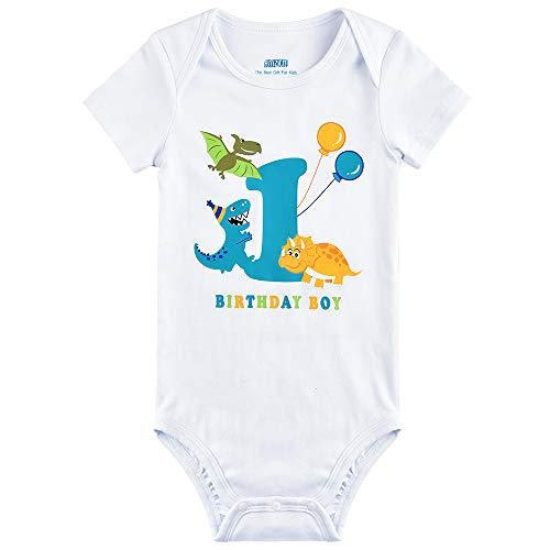 AMZTM Dinosaurio 1 año Cumpleaños Bodysuit Body de Manga Corta para Bebés Niños Dino 1er Cumpleaños Ropa de Bautizo Baby Impreso Algodón Romper (Blanco, 1 año - 80)