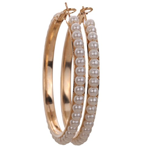 Yazilind chapado en oro 5.5inch diámetro de las mujeres pendientes de