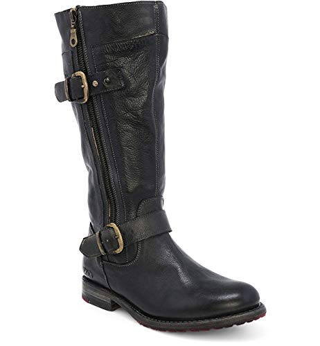 Bed|Stu Women's Gogo Lug Wide Calf Leather Boot (9.5, Black Rustic)