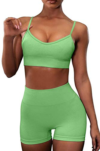 OLCHEE Women's Workout Set 2 Piece Tracksuit - Seamless High Waist Shorts Leggings and Sports Bra Yoga Outfits - Green Size S