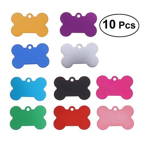 POPETPOP 10 Piezas Placa Identificativa para Perros, Collares Colgante para Perro y Gato, Etiquetas de Nombre del Mascotas para Perro Gatos, 38MM