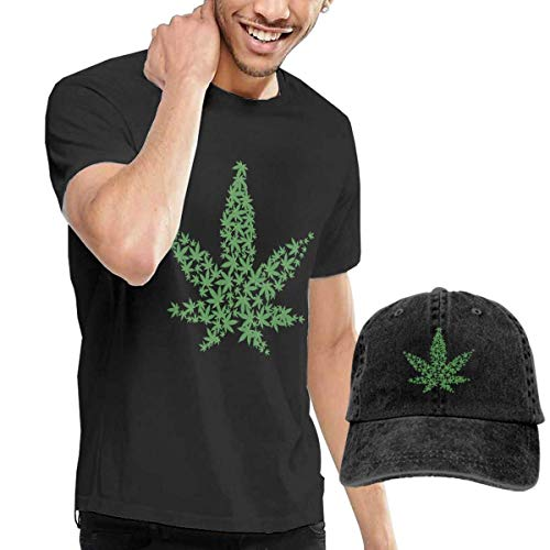 BAQQC Herren Kurzarmshirt Weed Cannabis Art Fashion Men's T-Shirt and Hats Youth & Adult T-Shirts