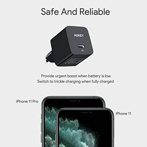 AUKEY USB C Ladegerät 18W Schnellladegerät, ultrakompaktes PD Ladegerät USB C Netzteil Kompatibel mit iPhone 11 Pro Max, AirPods, Samsung Galaxy S9 S8, Huawei Mate 30, Xiaomi, Switch