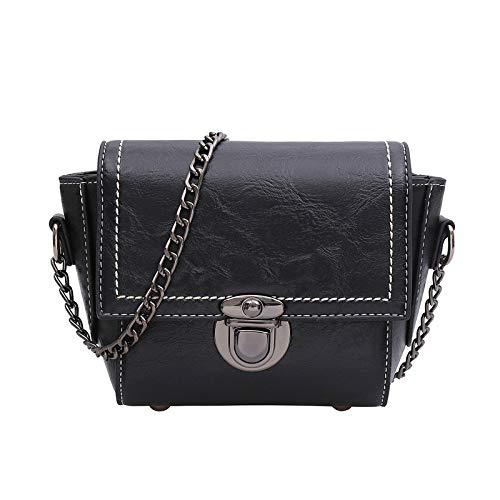 Negro Duradero y /útil Ogquaton 120cm Metal Cuero Cross Body Bag Correa de Cadena Bolso Bolso Bolso de Mano Reemplazo de Cadena Plata