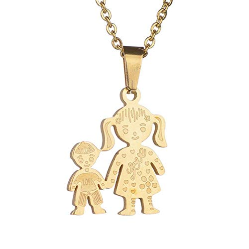 Boy Family Necklace For Women Lovely Stainless Steel Figure Son Chain Necklace Gift
