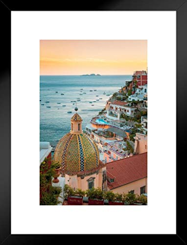 Positano Amalfi Coast Sunset Campania Sorrento Italy Mediterranean Sea Beautiful View European Landscape Photo Photograph Matted Framed Wall Decor Art Print 26x20