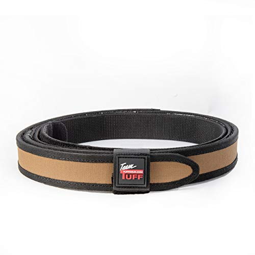 Quik2U TUFF SureFit Competition Belt Set Inner and Outer Belt with Keeper (Coyote Tan/Black, Medium 34-40)