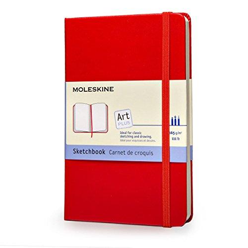 """Moleskine art sketchbook, hard cover, pocket (3. 5"""" x 5. 5"""") plain/blank, scarlet red"""