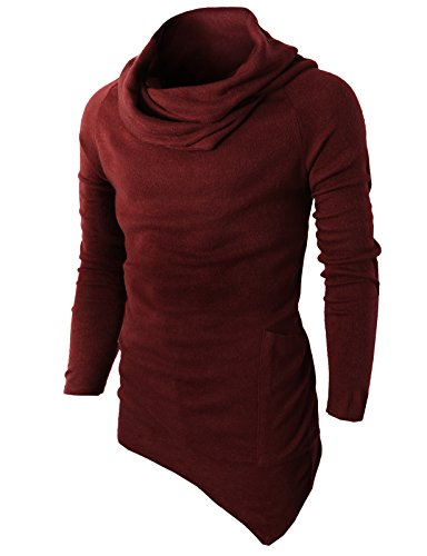 H2H Mens Casual Turtleneck Slim Fit Pullover Sweater Oblique Line Bottom Edge Wine US L/Asia XL (KMTTL046)