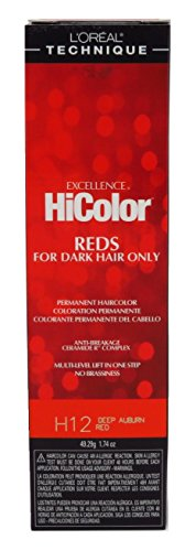 Loreal Excellence Hicolor H12 Tube Deep Auburn Red 1.74 Ounce (51ml) (3 Pack)