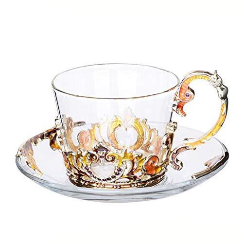 Grand motif en verre émaillé cristal transparent verre thé tasse à café tasse à café voyage poignée cadeau boîte 7,8 oz-1 pack cadeau (Couleur : Or)