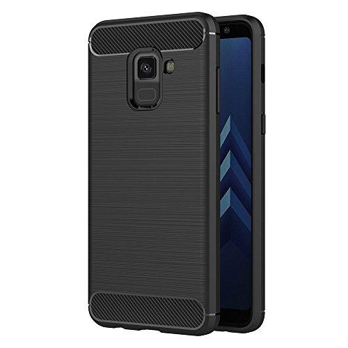 MaiJin Funda para Samsung Galaxy A8 (2018) SM-A530F/DS (5,6 Pulgadas) TPU Silicona Carcasa Fundas Protectora con Shock Absorción y Diseño de Fibra de Carbon (Negro)