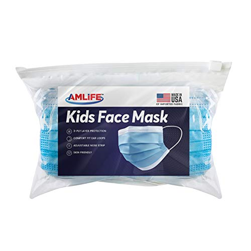 AMLIFE Kids Size Disposable Face Masks [50 Pieces Pack] 3-Ply Protective Filter - Made in USA with Imported Fabric - Convenient Zipper Bag
