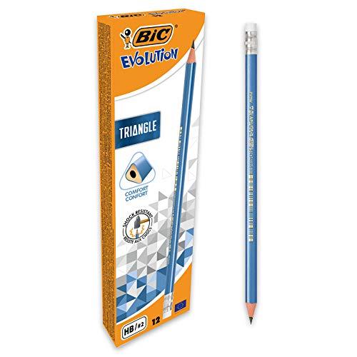 BIC Evolution Triangle Crayons à Papier Triangulaires avec Gomme Intégrée - HB, Boîte de 12