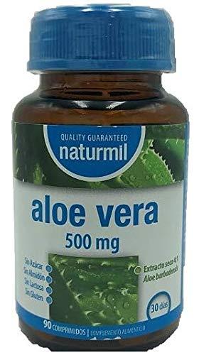 NATURMIL Aloe Vera 500 mg limpieza de colon, pack de (2 X 90) 180 comprimidos, para desintoxicar el organismo, para consumo diario, contra el estrenimiento limpiando los intestinos, efecto DETOX